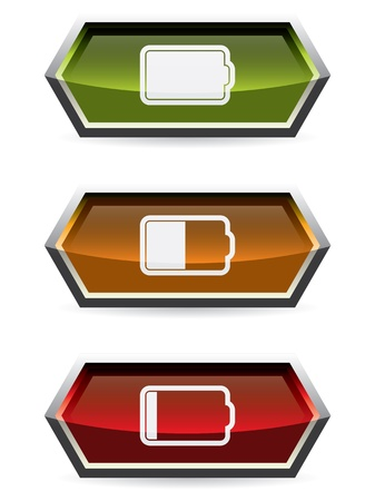 Web button design with battery symbol and colors Vector