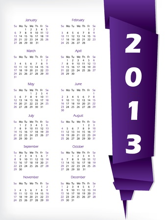 2013 calendar with purple origami paper on white background Stock Vector - 16841068