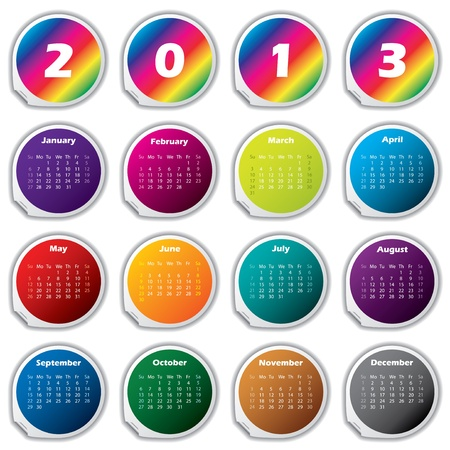 2013 raibow calendar with separate stickers for months Stock Vector - 16841071