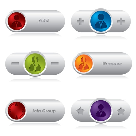 Vaus social network buttons for web sites Stock Vector - 17345302