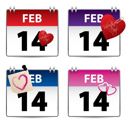 number 14: Valentine calendar set of four with heart decorations Illustration