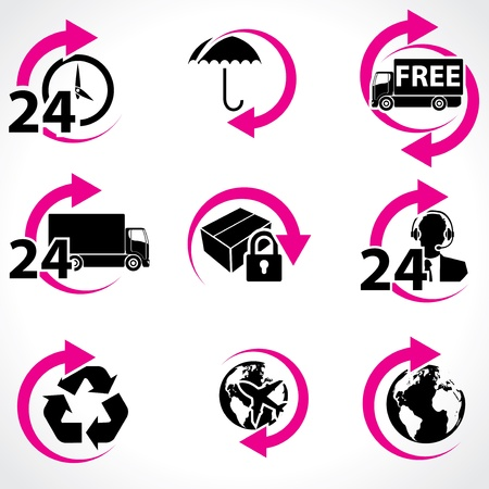 24 hours: Various postage and support related icon set Illustration