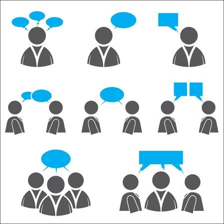 사용자: 소셜 네트워킹 아이콘, 생각을 나타내는 표현 및 주장 일러스트