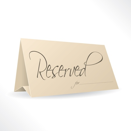 Reserved note with place for name on white background Vector