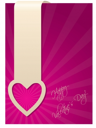 Valentine greeting card design with heart label Stock Vector - 17345288