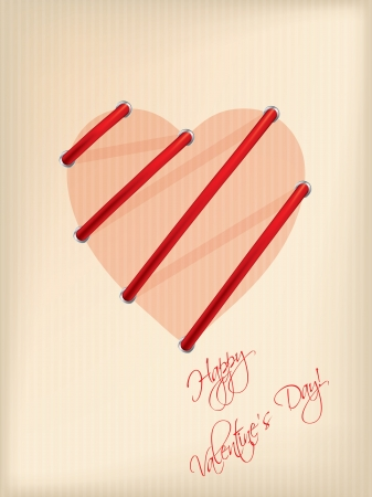 Striped Valentine day greeting card with laces Stock Vector - 17345334