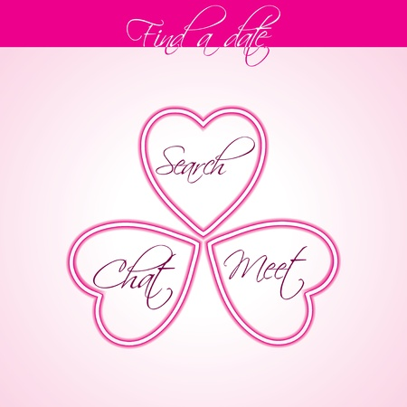 Find a date poster design with hearts and text Stock Vector - 17345328