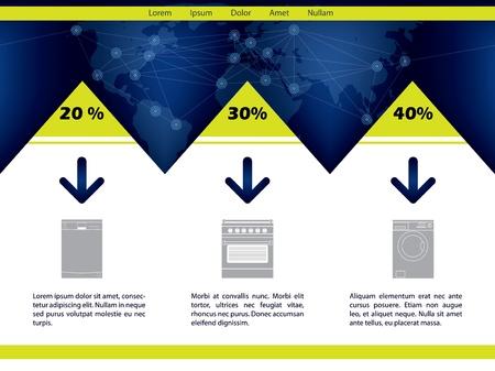 Household website template design with huge discounts Stock Vector - 17345330