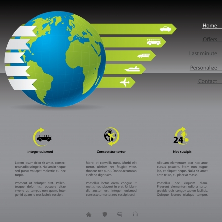 Travel website template with options and descriptions Vector