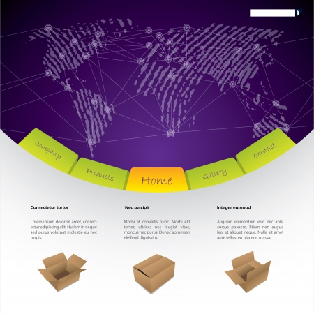 Worldwide shipping website template design with shipping options Vector