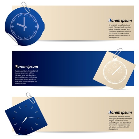 Banners with attached notepaper and sticker in blue and drab color Vector