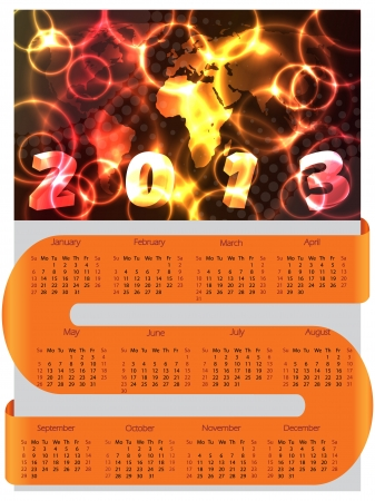 S ribbon calendar for 2013 with vivid orange and yellow colors Stock Vector - 17462970