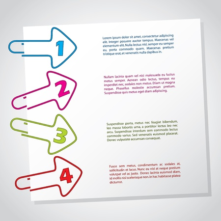 paper clips: Arrow shaped paper clips infographic with numbers Illustration