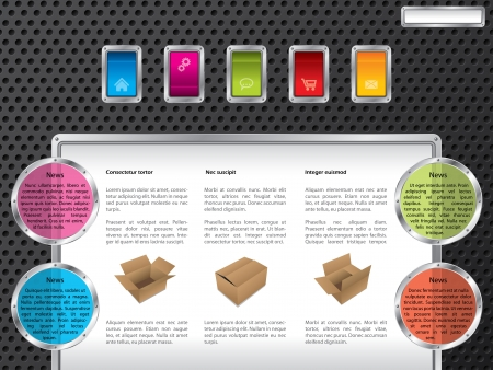 web site design template: Technology web template design with color buttons Illustration