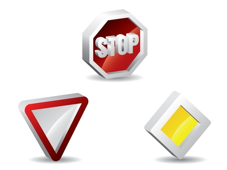 Three dimensional metallic traffic signs with shadows Stock Vector - 17560428