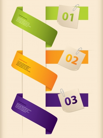 post it note: Infographic design with colored ribbons and notepapers