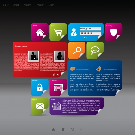 Modern style website template design with lots of options Stock Vector - 17698853