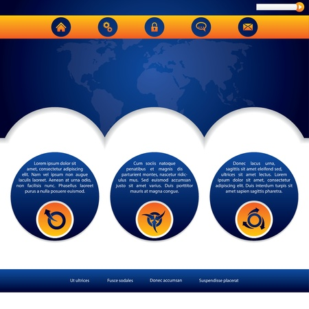 Website template design in blue and orange colors Vector