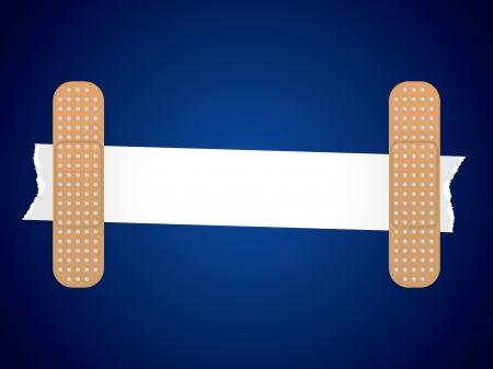 Gescheurd papier geplakt met medische tape op blauwe achtergrond