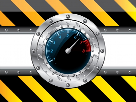 rev counter: Tachometer design with industrial elements on striped background