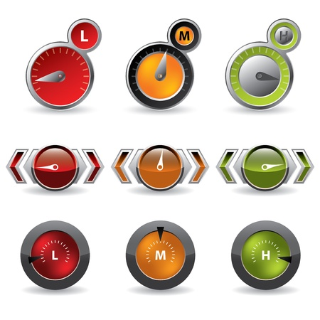 high speed internet: Cool new download speedometers showing speed on white background Illustration