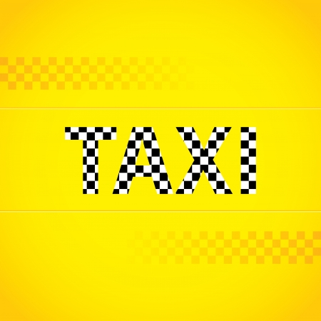 Yellow taxi background design with checkered text Vector