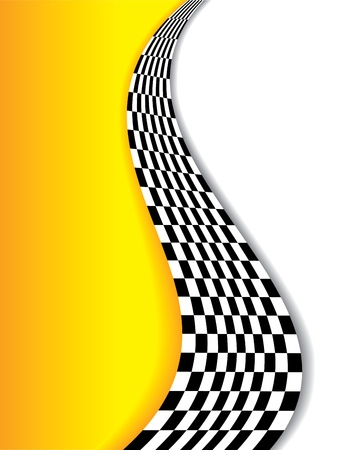 Abstract yellow background with checkered wave and shadows Vector