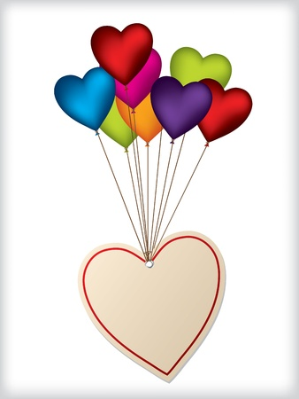 caption: Valentine label design with heart shaped color balloons