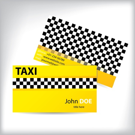 Checkered business card design for taxi drivers