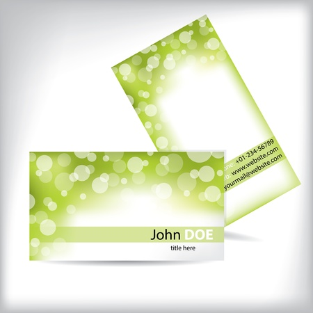 Green white business card template design with shadows Vettoriali