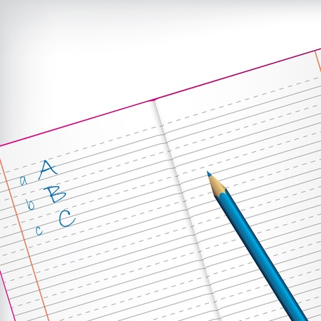 write abc: First grade copybook with blue pencil and white backdrop