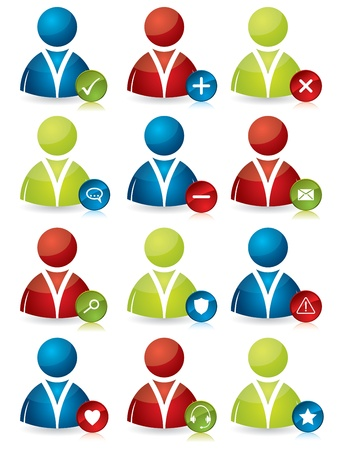 Various colored social people icon design set Stock Vector - 17909155