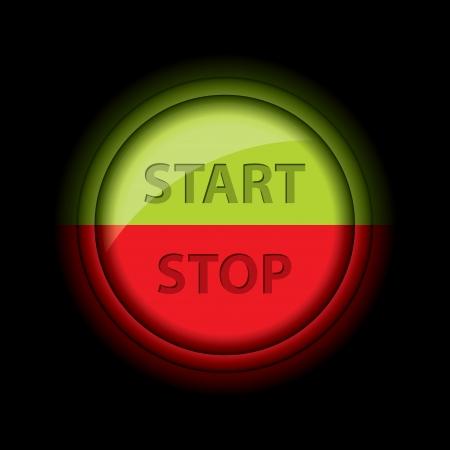 boton stop: Parada brillante bot�n de inicio dise�o en color verde y rojo