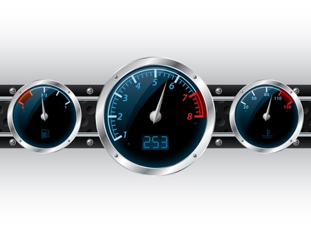 Speedometer with rpm and separate fuel and water temperature gauge Vector
