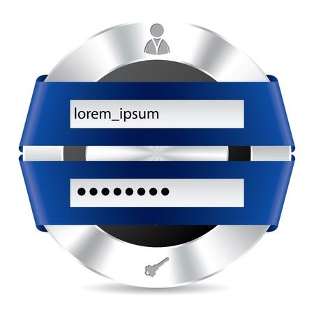 Metallic toegang inlogscherm met blauw lint ontwerp