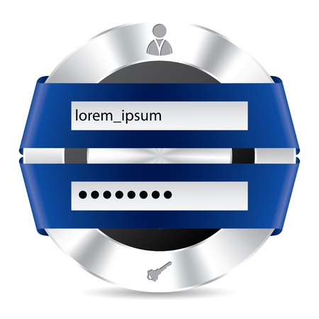 Metallic access login screen with blue ribbon design Illustration