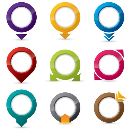 9 different shape and color editable icon designs Vector