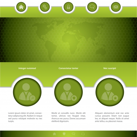 new site: Social networking website design in green with different options Illustration