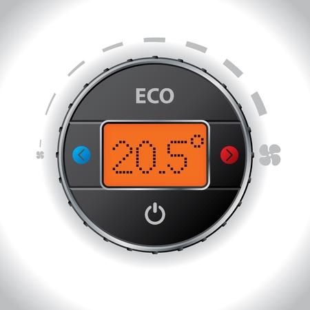 conditioning: De aire del coche condici�n bot�n y dise�o de pantallas con opciones Vectores
