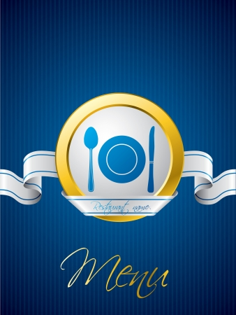Blue menu brochure design with white ribbon Stock Vector - 18135779