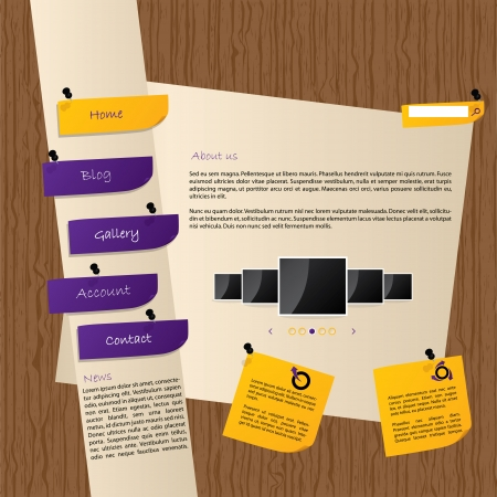 Website template design with wooden background and post its