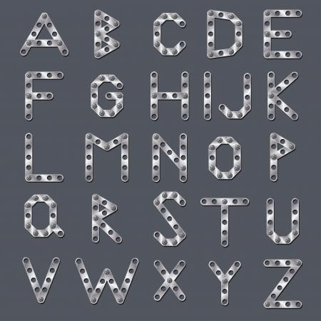 drilled: Drilled metallic abc design on dark background Illustration