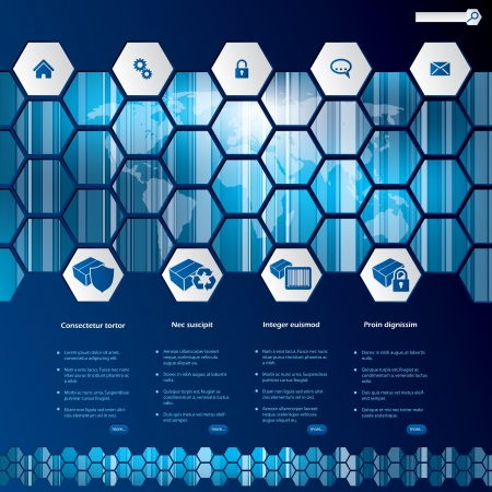 Hexagon style web template design with products Vector