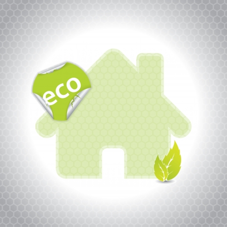 Eco house design with sticker and hexagon background Stock Vector - 18217440