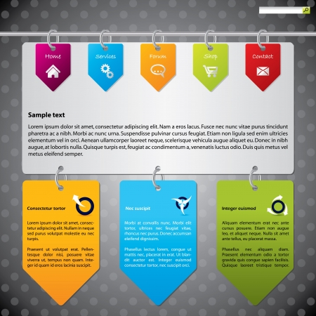 webpages: Website template design with hanging color arrow labels