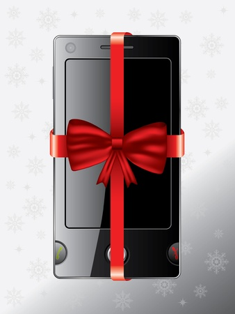 Cell phone as christmas gift with snowy background Vector
