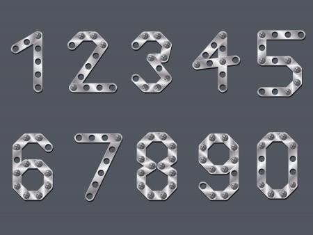 drilled: Drilled metallic numbers design on dark background