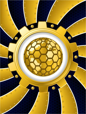 Twirling background with golden cogwheel and hexagon globe  Vector