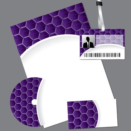 lanyard: Negocios hex�gono p�rpura fijado con cd, tarjeta y cord�n