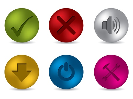 Cool 3d matte button set of six Vector